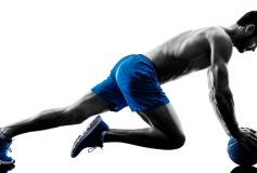 Burpees on medicine ball, wall plank and other three exercises in their most intense variations